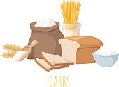 Carbohydrate food vector illustration