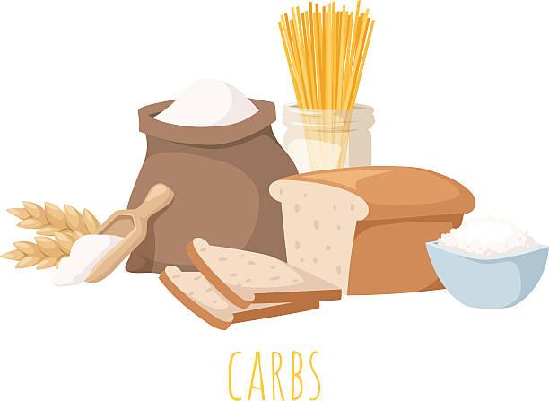 ilustraciones, imágenes clip art, dibujos animados e iconos de stock de carbohidratos alimentos ilustración de vectores - carbohidrato