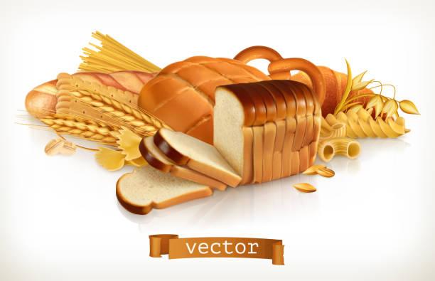 ilustraciones, imágenes clip art, dibujos animados e iconos de stock de hidratos de carbono. pan, pastas, trigo, cereales. 3d ilustración de vectores - carbohidrato