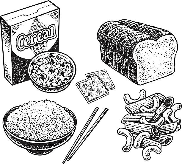 bread cereal rice pasta coloring pages | Royalty Free Rice. Vector Illustration Clip Art, Vector ...