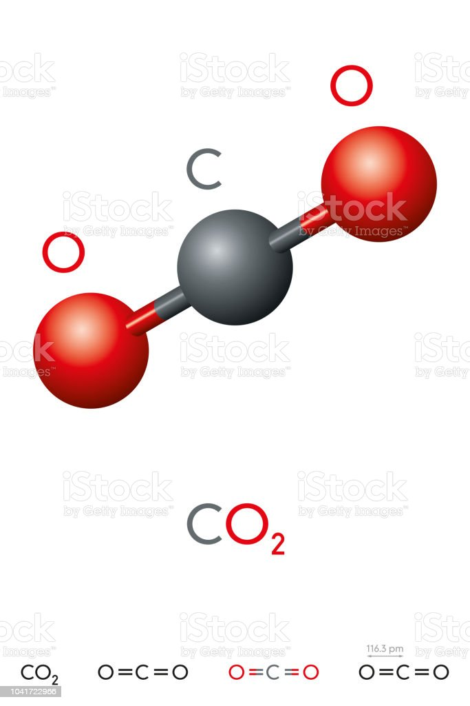 Carbon Dioxide Co2 Molecule Model And Chemical Formula Stock Vector