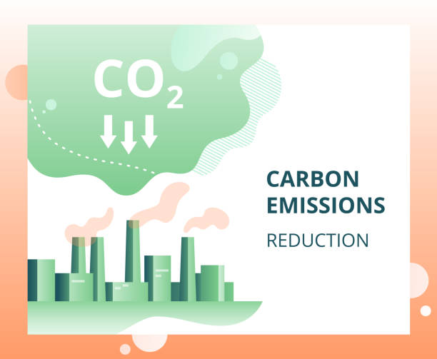 stockillustraties, clipart, cartoons en iconen met reductie van koolstofdioxide-emissies in de stad - vermindering