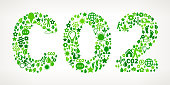 Carbon Dioxide On Green Environmental Conservation and Nature royalty free vector interface icon pattern. This royalty free vector art features nature and environment icon set pattern. The major color is green and icons include trees, leaves, energy, light bulb, preservation, solar power and sun. Icon download includes vector art and jpg file.