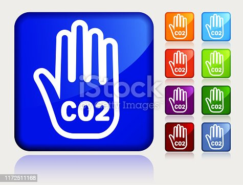 Carbon Dioxide Hand CO2 Icon. This 100% royalty free vector illustration is featuring a blue square button with a drop shadow and the main icon is depicted in white. There are 8 additional alternative variations in different colors on the right.