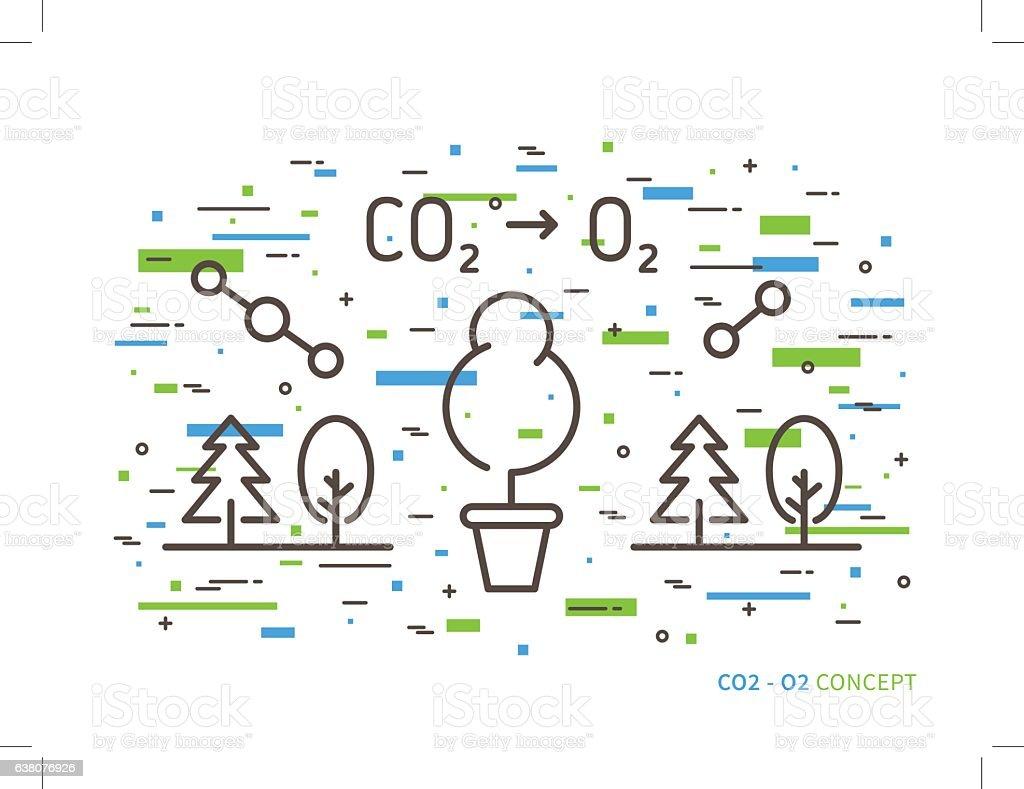 carbon dioxide to oxygen linear vector illustration vector art illustration