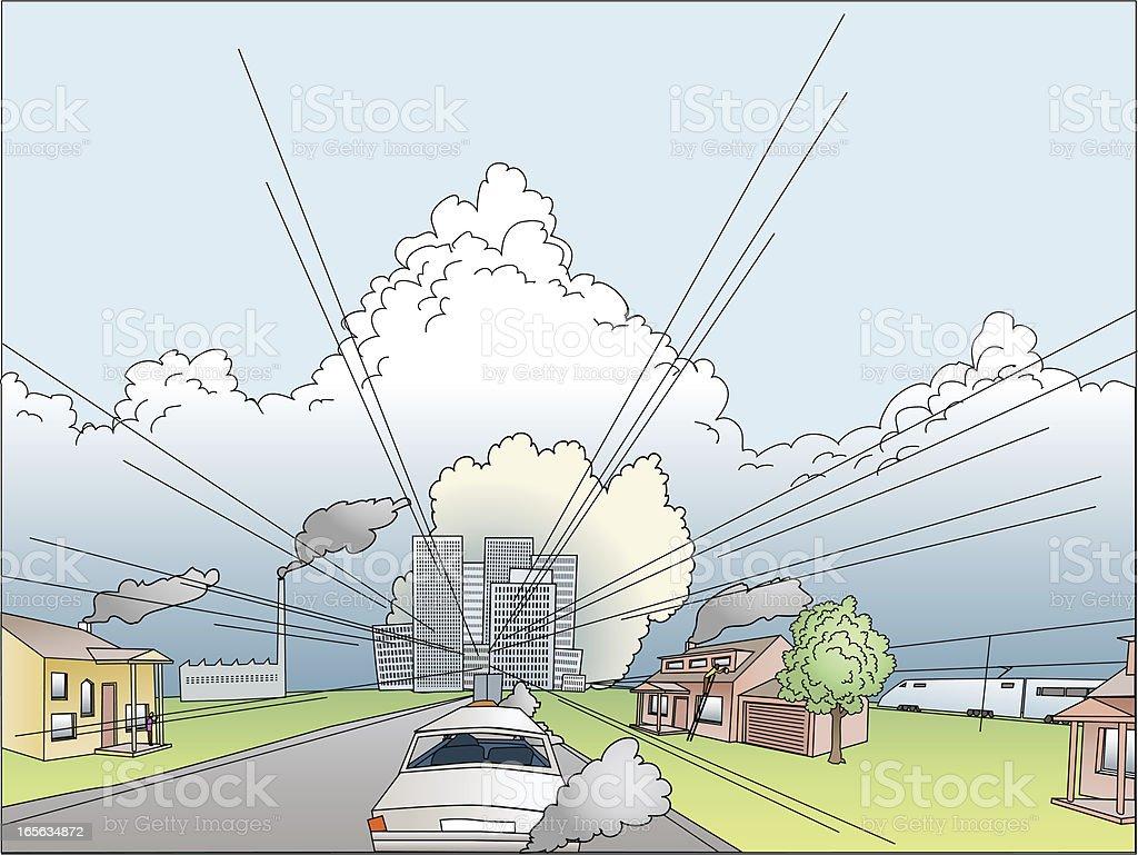 Carbon emission in the city vector art illustration