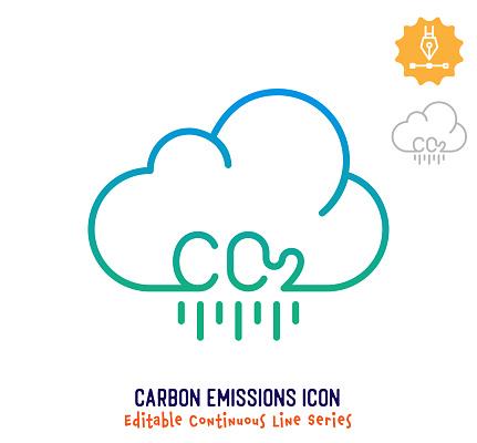 Carbon Emissions Continuous Line Editable Stroke Line