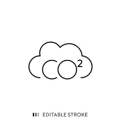 Carbon Emissions Line Icon with Editable Stroke and Pixel Perfect.