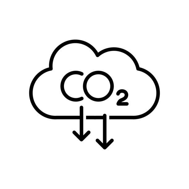 stockillustraties, clipart, cartoons en iconen met vermindering van koolstofemissies icoon - vermindering