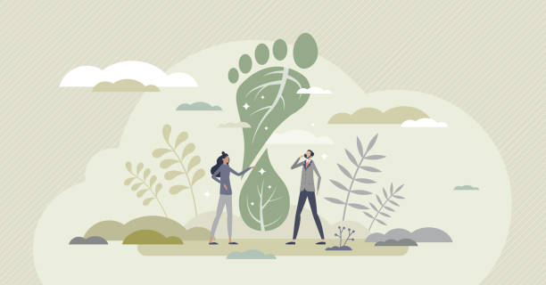 Carbon footprint effect and CO2 emission problem reduce tiny person concept vector art illustration