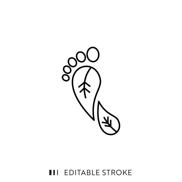 ilustrações, clipart, desenhos animados e ícones de ícone da linha de pegada de carbono com traçado editável e pixel perfect. - sustainability icons