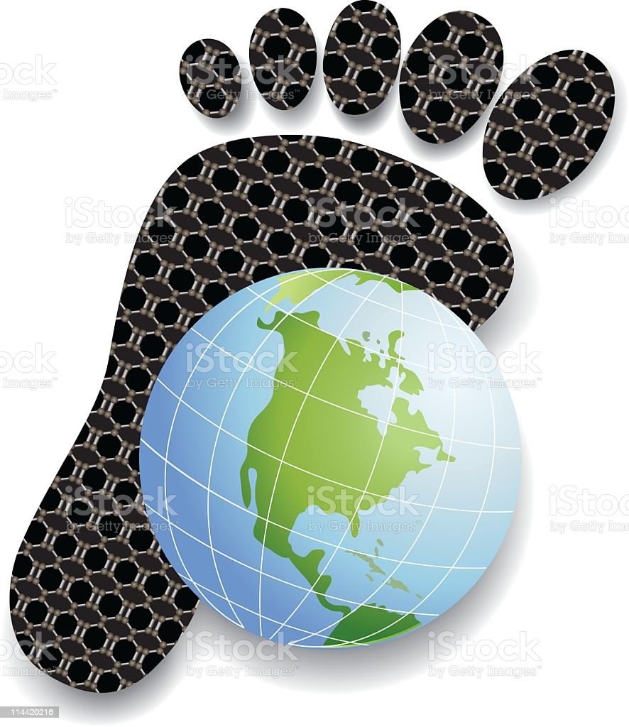 Carbon Footprint - North America on World Globe In Front royalty-free carbon footprint north america on world globe in front stock vector art & more images of carbon dioxide