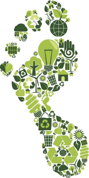 bildbanksillustrationer, clip art samt tecknat material och ikoner med carbon footprint - recycling heart