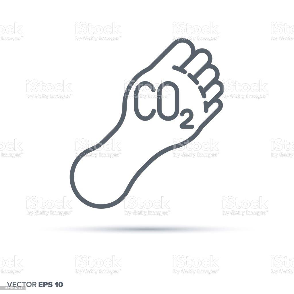 Carbon footprint vector line icon. vector art illustration
