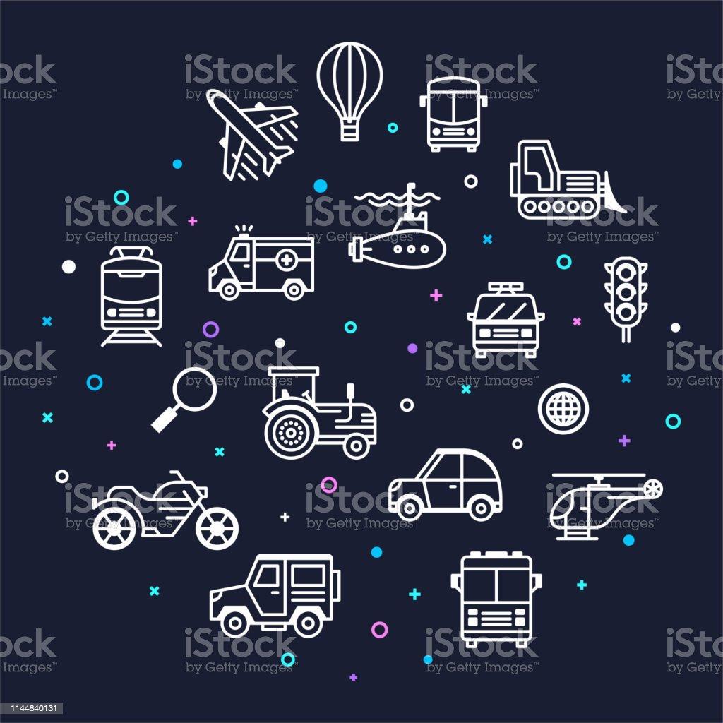 Carbon footprints and automotive vehicles memphis style outline...