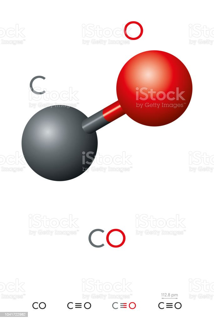 Carbon Monoxide Co Molecule Model And Chemical Formula Stock Vector