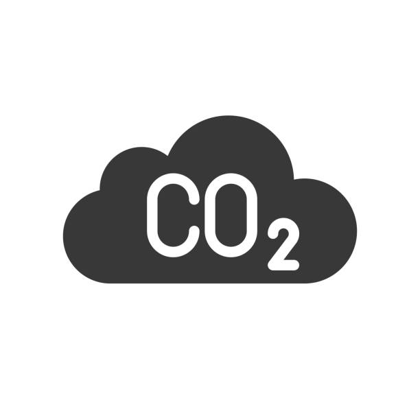 Carbon monoxide on cloud, pollution   icon – artystyczna grafika wektorowa