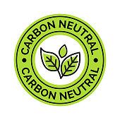 Carbon neutral icon stamp. CO2 energy monoxide carbon ecology background label concept.