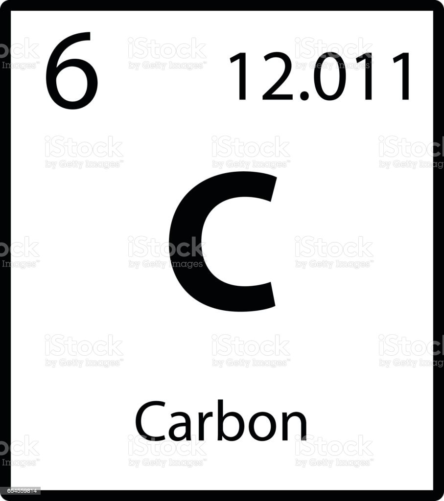 Carbon periodic table element icon on white background vector vector art illustration