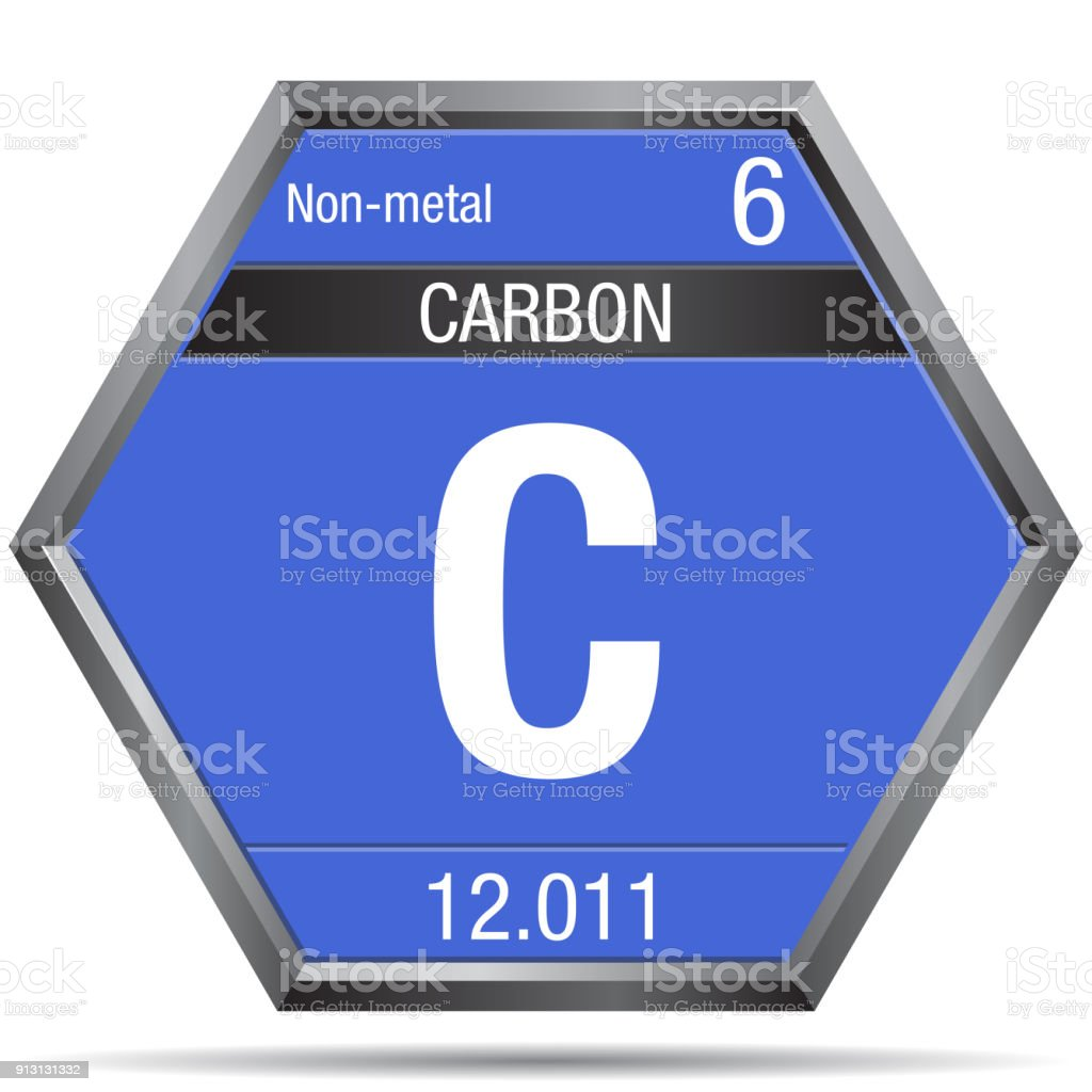 Carbon symbol in the form of a hexagon with a metallic frame carbon symbol in the form of a hexagon with a metallic frame element number 6 buycottarizona