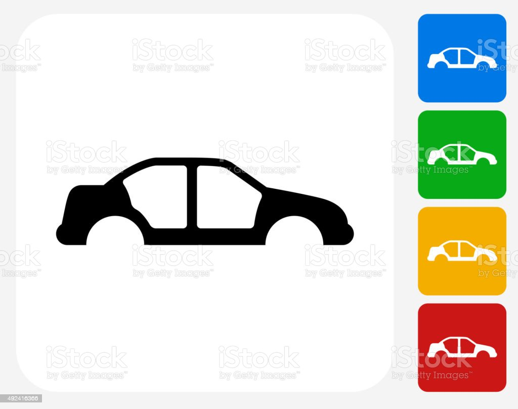 Carcass of the Car Icon Flat Graphic Design vector art illustration