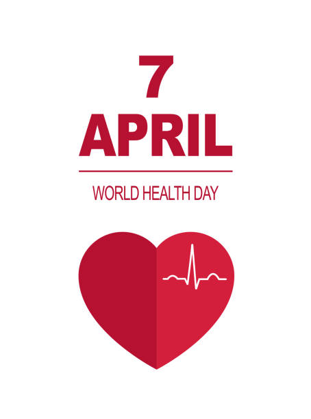 WORLD HEALTH DAY card 7 april. red beating heart on the white background WORLD HEALTH DAY card 7 april.  red beating heart on the white background. cardiogram curve  .vector illustration .Medical concept world health day stock illustrations