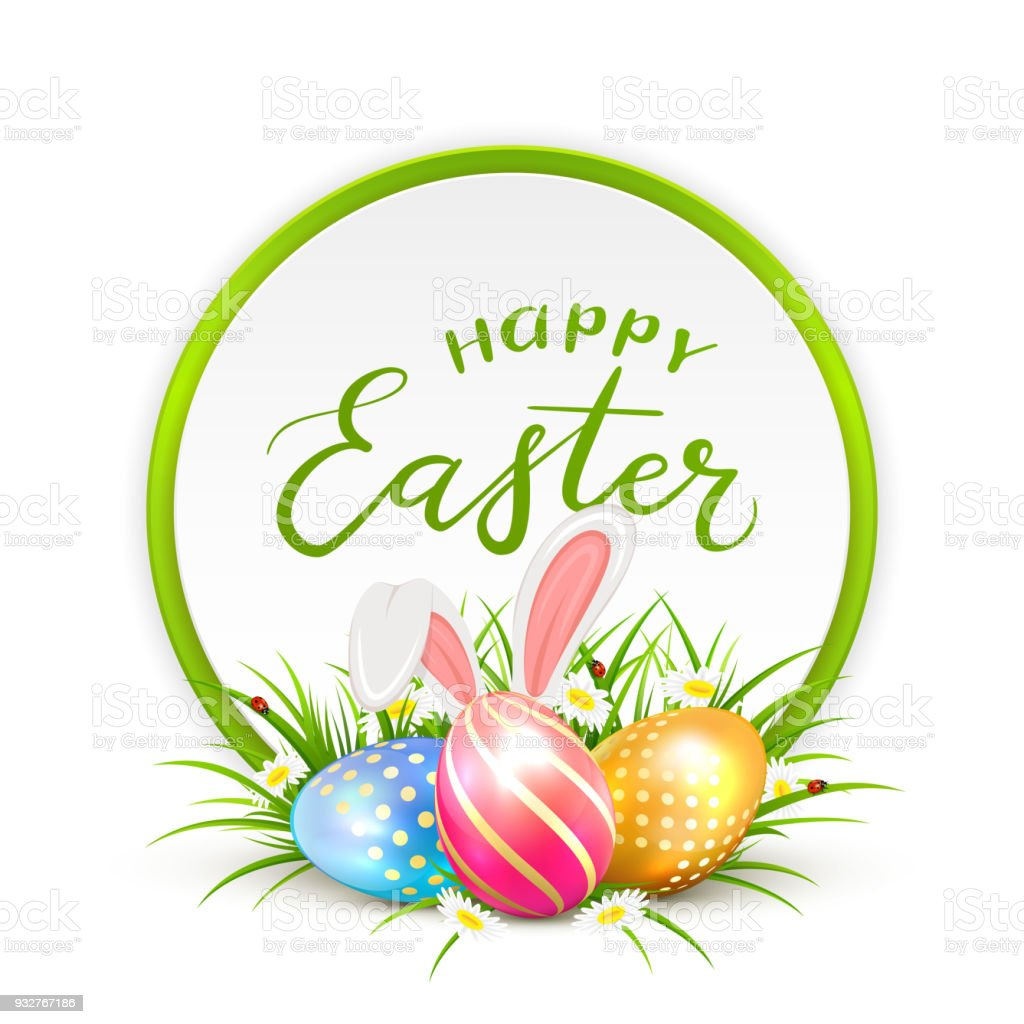 Card and Easter eggs with rabbit ears in grass vector art illustration