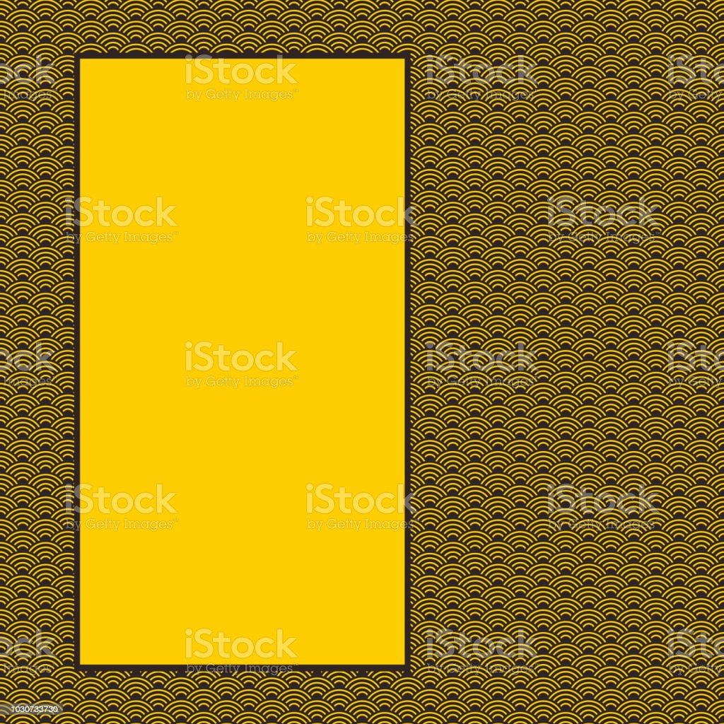card banner design for text abstract scales simple Nature background with japanese circle pattern black yellow orange. Vector vector art illustration