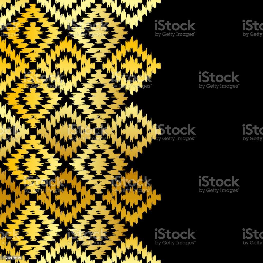 Kartebanner Turkischen Teppich Gold Schwarz Muster Patchwork Mosaik