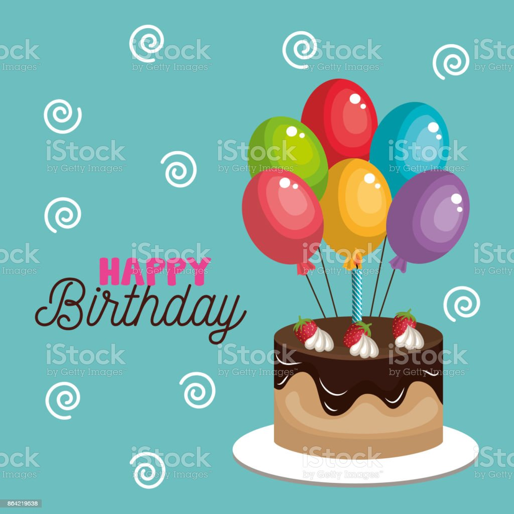 card cake and balloons happy birthday graphic royalty-free card cake and balloons happy birthday graphic stock vector art & more images of anniversary