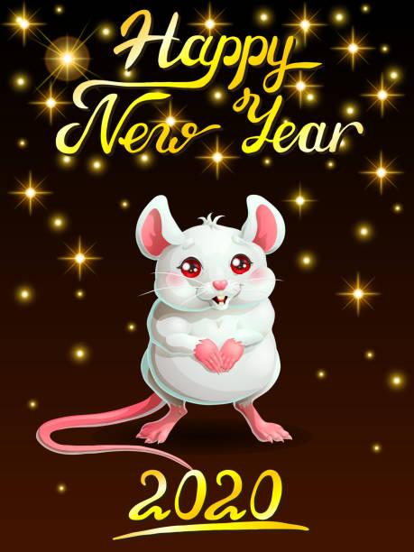 Bекторная иллюстрация Card cute white mouse on black vert