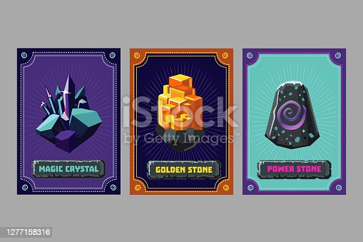 Card deck. Collection game art. Fantasy UI kit with magic items. User interface design elements with decorative frame. Equipment assets. Cartoon vector illustration. Crystal and magic stones.