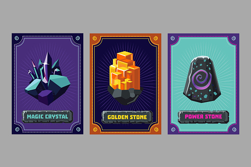 Card deck. Collection game art. Fantasy UI kit with magic items. User interface design elements with decorative frame. Equipment assets. Cartoon vector illustration.