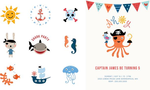 Card Design and Elements Set_05 Pirate Birthday Invitation. Vector illustration. seyahat noktaları illustrationsları stock illustrations