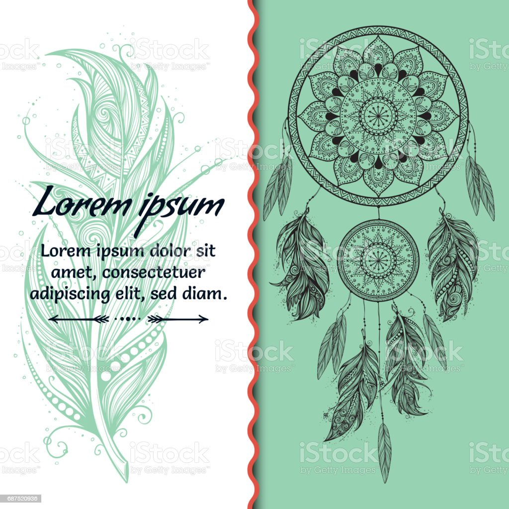 Card design. Dreamcatcher. Text place. Boho style. Vector art - Illustration vectorielle