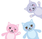 card design set funny cats, pastel colors on white background.