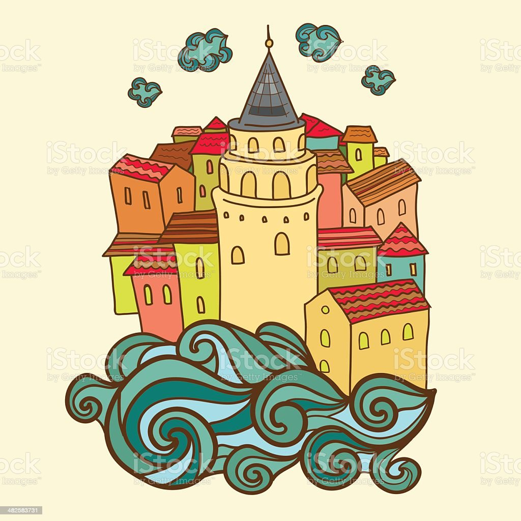 Card design with Istanbul city and Galata tower. vector art illustration