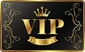 VIP card exclusive vector. Gold crown and ornament.