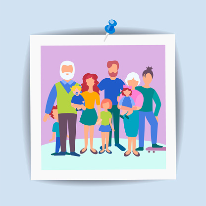 Card family snapshot, concept happy family, memorable moments.