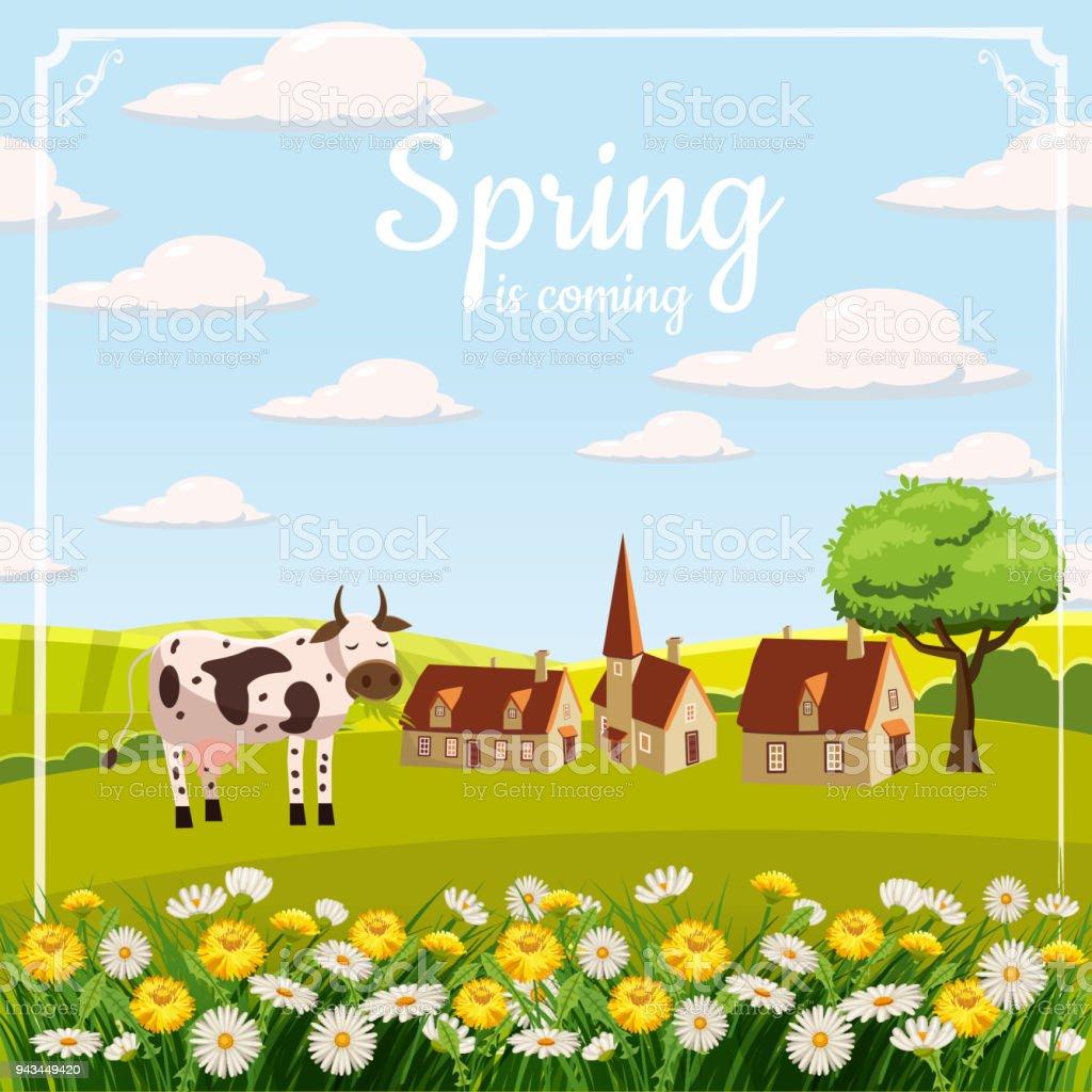Card Farm Cow Landscape Countryside Spring Flowers Dandelions