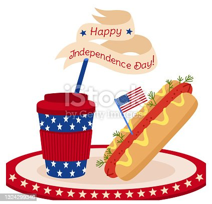 istock Card fast food American Independence Day flag 1324299346