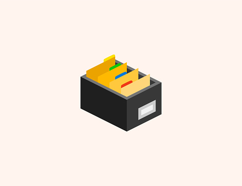 Card File Box vector icon. Isolated Files, Documents in Drawer flat, colored illustration symbol - Vector