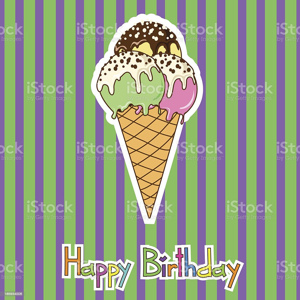Card for birthday with ice cream royalty-free stock vector art