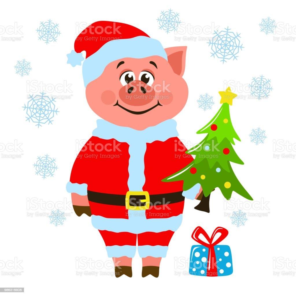 Karte Für Weihnachten Oder Silvester Mit Einem Schwein Im ...
