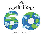 Card for Earth Hour - global annual international event. Number 60 and globe inside symbolizing 60 minutes on background of night starry blue sky and globe. Vector illustration