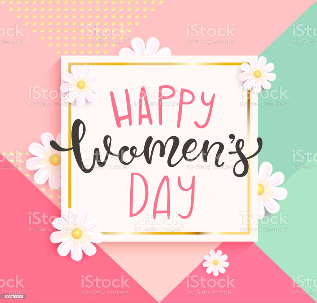 Card for happy women's day with handdrawn lettering.
