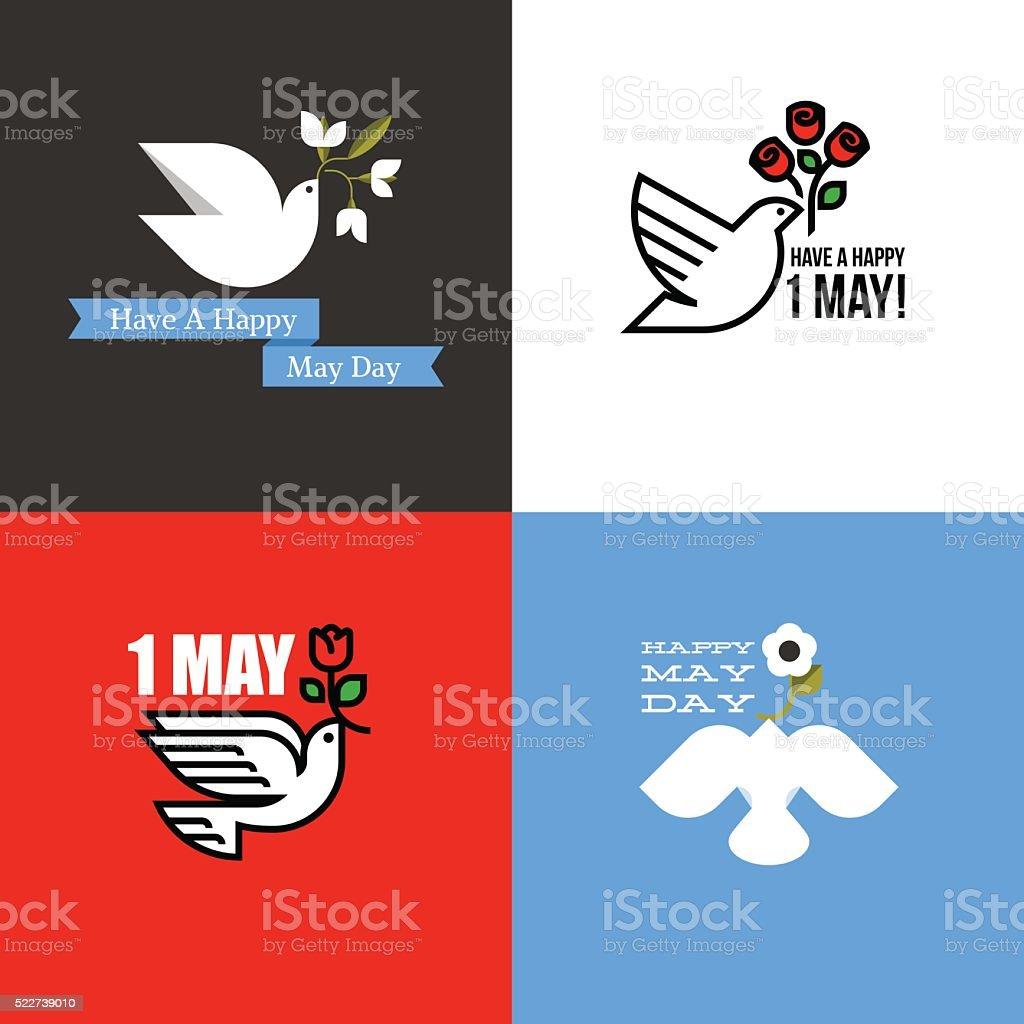 Tarjeta para días festivos del Día Internacional de los trabajadores el 1 de mayo - ilustración de arte vectorial