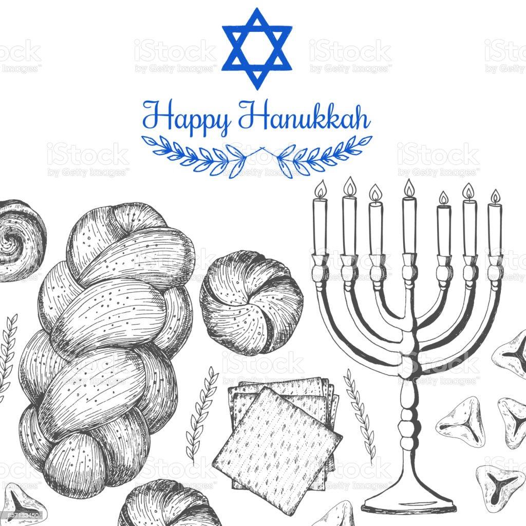 Card For Jewish Holiday Hanukkah Hand Drawn Sketch Hanukkah Vector