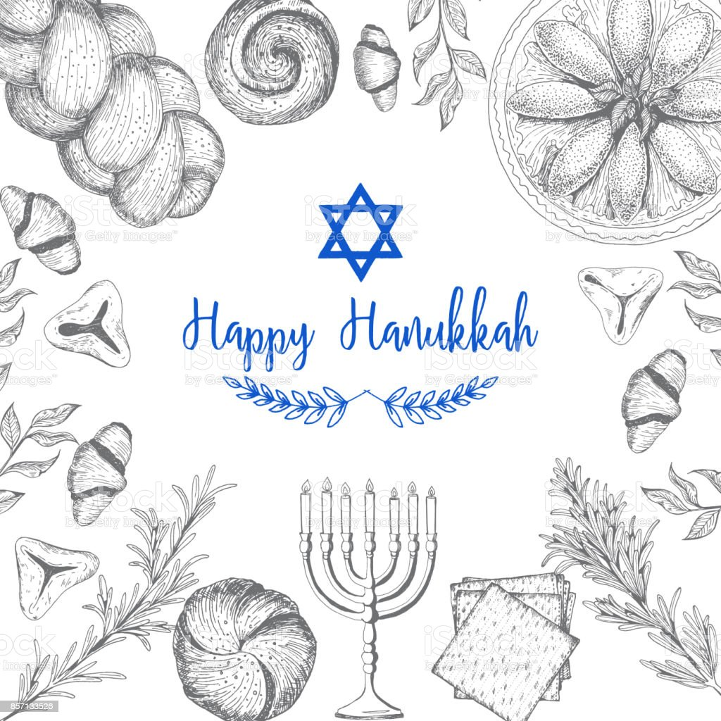 Carte pour la fête juive de Hanukkah. Croquis dessiné main Hanukkah. Illustration vectorielle. Graphique linéaire - Illustration vectorielle