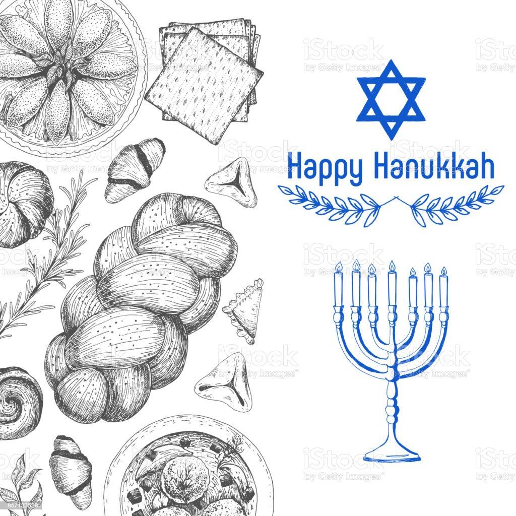 Card for jewish holiday, Hanukkah. Hand drawn sketch Hanukkah. Vector...